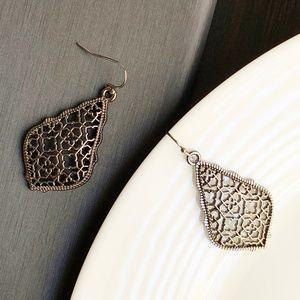 Jewelry - NEW Leaf Filigree Earrings (black)
